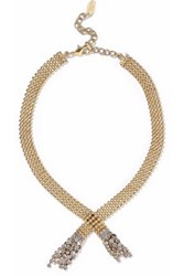 Elizabeth Cole Beaded Gold Tone And Crystal Necklace Gold