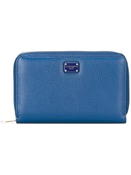 Dolce And Gabbana Dauphine Leather Wallet Blue