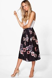 Boohoo Avianna Dark Floral Box Pleat Skater Skirt Black
