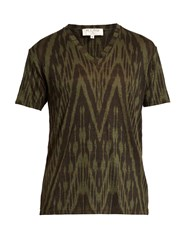 Etro Ikat Print V Neck Linen T Shirt Green Multi