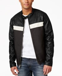 Guess Men's Faux Leather Full Zip Motorcycle Jacket