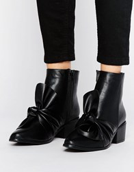 Missguided Bow Detail Ankle Boot Black