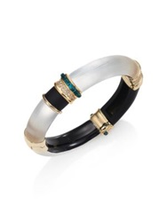 Alexis Bittar Sport Deco Lucite And Crystal Colorblock Bangle Bracelet Silver Gold Multi