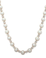 Anne Klein Fireball Accent Pearl Necklace Gold