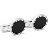 Hugo Boss T Harvey Silver Tone Onyx Cufflinks Black