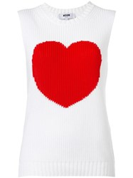 Msgm Heart Motif Knitted Tank White