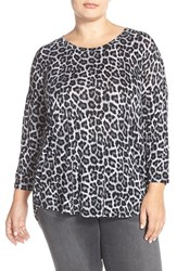 Plus Size Women's Michael Michael Kors Nubian Animal Print Top Gunmetal
