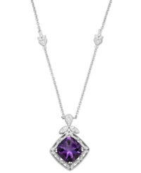 Macy's Amethyst 5 9 10 Ct. T.W. And Diamond 1 10 Ct. T.W. Pendant Necklace In Sterling Silver