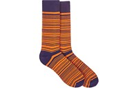 Barneys New York Men's Striped Cotton Blend Mid Calf Socks Orange