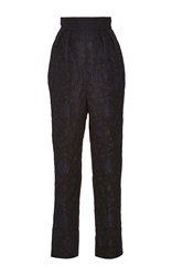 Monique Lhuillier Jacquard High Waisted Trousers Navy