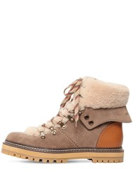 See By Chloe 20Mm Eileen Suede And Fur Ankle Boots Taupe
