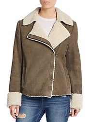 Vince Leather And Shearling Asymmetrical Zip Jacket Off White