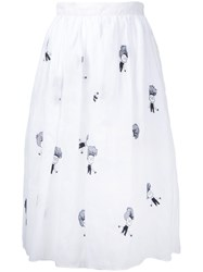 Jupe By Jackie Embroidered Skirt Women Cotton M White