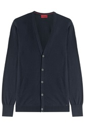 Hugo Cotton Silk Cashmere Cardigan Blue