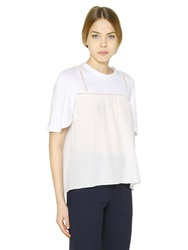 Chloe Cotton Jersey And Silk Crepe T Shirt White