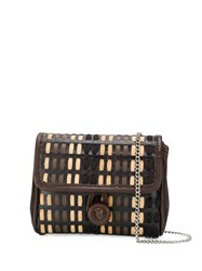 Carmina Campus Braided Flap Crossbody Bag Brown