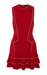 J. Mendel Sleeveless Silk Crepe Dress Red