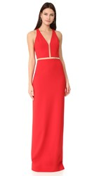 Alexander Wang V Neck Gown With Fishing Line Detail Vermillion