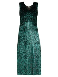 Masscob Laurent Ruched Velvet Dress Green