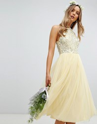Maya Halterneck Delicate Sequin Detail Tulle Midi Dress In Lemon Yellow