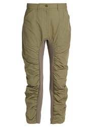 Stella Mccartney Contrast Panel Gathered Slim Leg Trousers Khaki