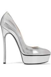 Casadei Metallic Glossed Leather Platform Pumps Silver