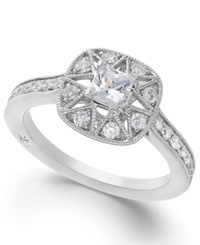 Antique Star By Marchesa Certified Diamond Engagement Ring In 18K White Gold 7 8 Ct. T.W.