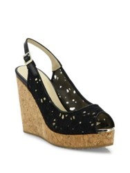 Jimmy Choo Prova Eyelet Cork Wedge Slingbacks Nude Black