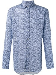 Canali Floral Print Slim Fit Shirt Blue