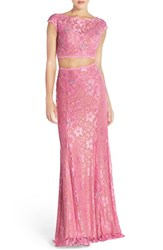Women's Jovani Embellished Lace Two Piece Gown