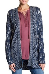 Lucky Brand Stitched Pattern Open Cardigan Blue