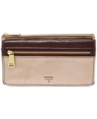 Fossil Preston Leather Flap Clutch Wallet Taupe Metallic