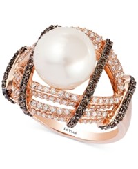 Le Vian Chocolatier Fresh Water Pearl 10Mm And Diamond 1 Ct. T.W. Ring In 14K Rose Gold White