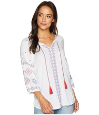 Tribal Woven Challis 3 4 Sleeve Embroidered Detail Blouse White