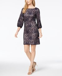 Jessica Howard Lace Bishop Sleeve Dress Navy Multi