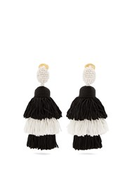 Oscar De La Renta Tiered Tassel Drop Clip On Earrings Black