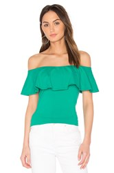 Susana Monaco Ruffle Off Shoulder Top Green