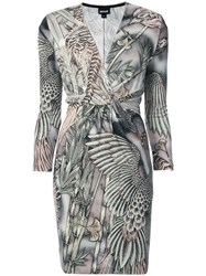 Just Cavalli Embroidered Wrap Dress Viscose Brown