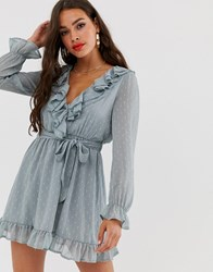 Boohoo Exclusive Dobby Shift Dress With Ruffle Trim And Tie Waist In Light Green Multi