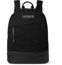 Want Les Essentiels Kastrup Leather Trimmed Organic Cotton Canvas Backpack Black