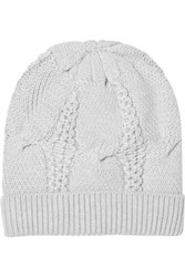 Duffy Cable Knit Merino Wool Beanie Light Gray