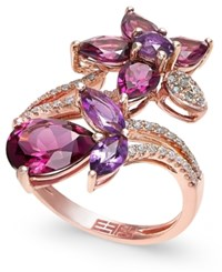 Effy Collection Bordeaux By Effy Multi Stone 5 1 4 Ct. T.W. And Diamond 1 5 Ct. T.W. Flower Ring In 14K Rose Gold Red