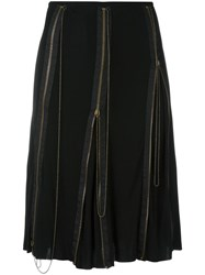 Jean Paul Gaultier Vintage Flared Zip Accent Skirt Black