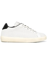 Leather Crown Lace Up Sneakers White