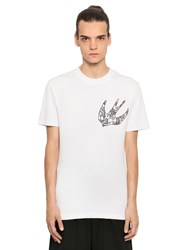 Mcq By Alexander Mcqueen Embroidered Swallow Cotton T Shirt