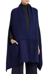 Lafayette 148 New York Women's Merino Wool And Cashmere Shawl Galaxy Blue