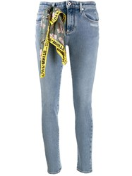 Off White Scarf Detail Skinny Jeans Blue