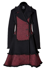 Mcq By Alexander Mcqueen Wool Blend Fringed Coat In Red Black