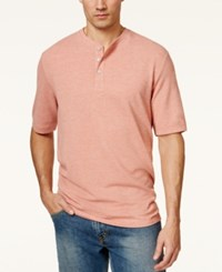 Weatherproof Pique Henley Shirt Orange