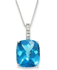 Macy's 14K White Gold Necklace Blue Topaz 7 Ct. T.W. And Diamond Pendant